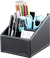 KINGFOM 3 Slot PU Leather Remote Control Holder Organizer, Home Sundries Storage Box, TV Guide/Mail/CD...