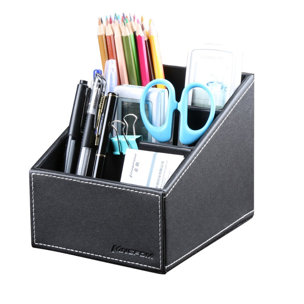 KINGFOM 3 Slot PU Leather Remote Controller Holder Organizer, Home Sundries Storage Box, TV Guide/Mail/CD Organizer/Caddy/Holder with Free Cable Organizer (Black)