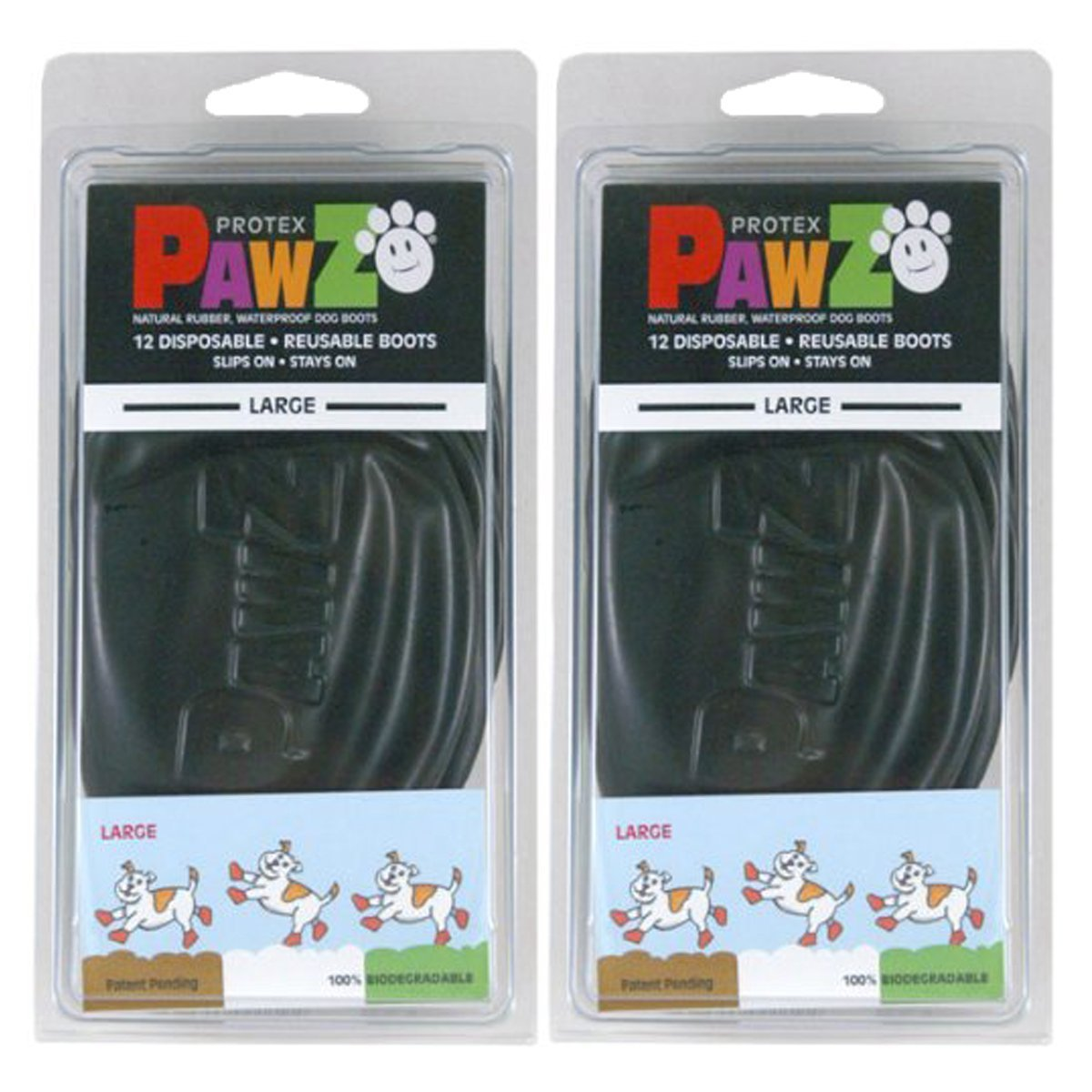 Black Large Pack of 2 Black Large Pack of 2 Pawz Water-Proof Dog Boot, Black, Large (2 Pack)