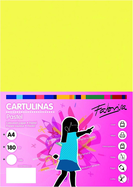 Pack 50 Cartulinas Tama/ño A4 180g Amarillo fluor