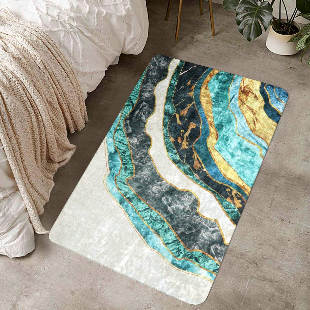 LIVEBOX Modern Abstract Area Rug, 2x3ft Marble Gold and Turquoise Distressed Luxury Faux Wool Rug Plush Contemporary Accent Throw Rug Oriental Door Mat for Entryway Bedroom Living Room Laundry