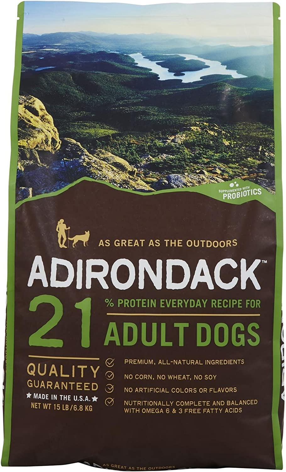 Adirondack Pet Food 22452 21% Protein Everyday Recipe For Adult Dogs, 15Lb.