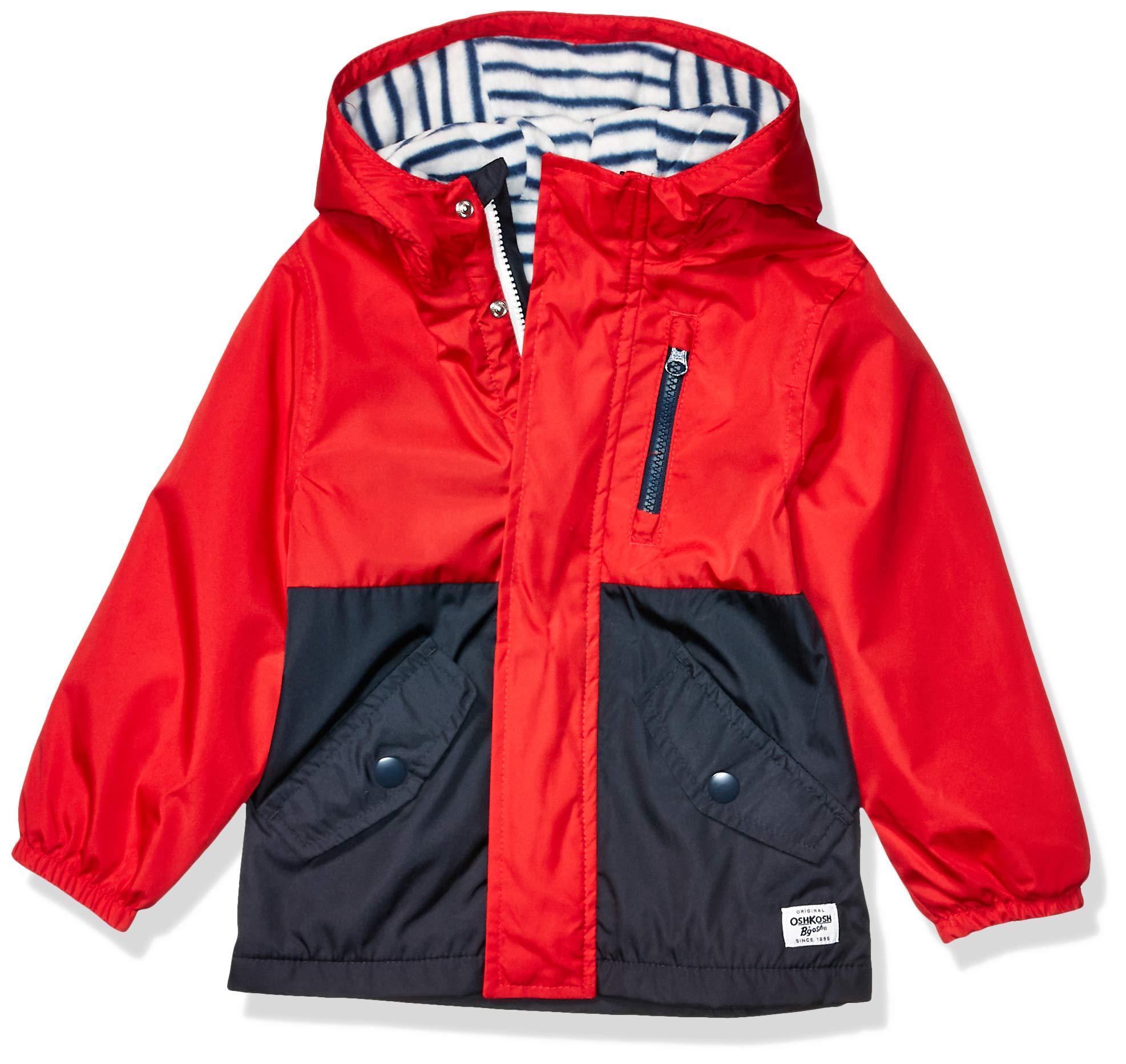 OshKosh B'Gosh Boys' Little Midweight Fleece Lined Windbreaker Jacket, Red Black Blocked, 4