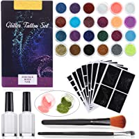 Janolia Tatuaje de Brillo Kit, Purpurinas Polvo para Tatuajes Temporales, 24 Colores & 2 Pegamentos & 2 Cepillos y 108 Plantillas, Colores Fluorescente bajo UV, Ideal para Nino y Adulto, Color al Azar