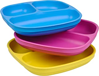 product image for Re-Play Made in USA 3pk Divided Plates with Deep Sides for Easy Baby, Toddler, Child Feeding - Sky Blue, Bright Pink & Yellow (Easter)