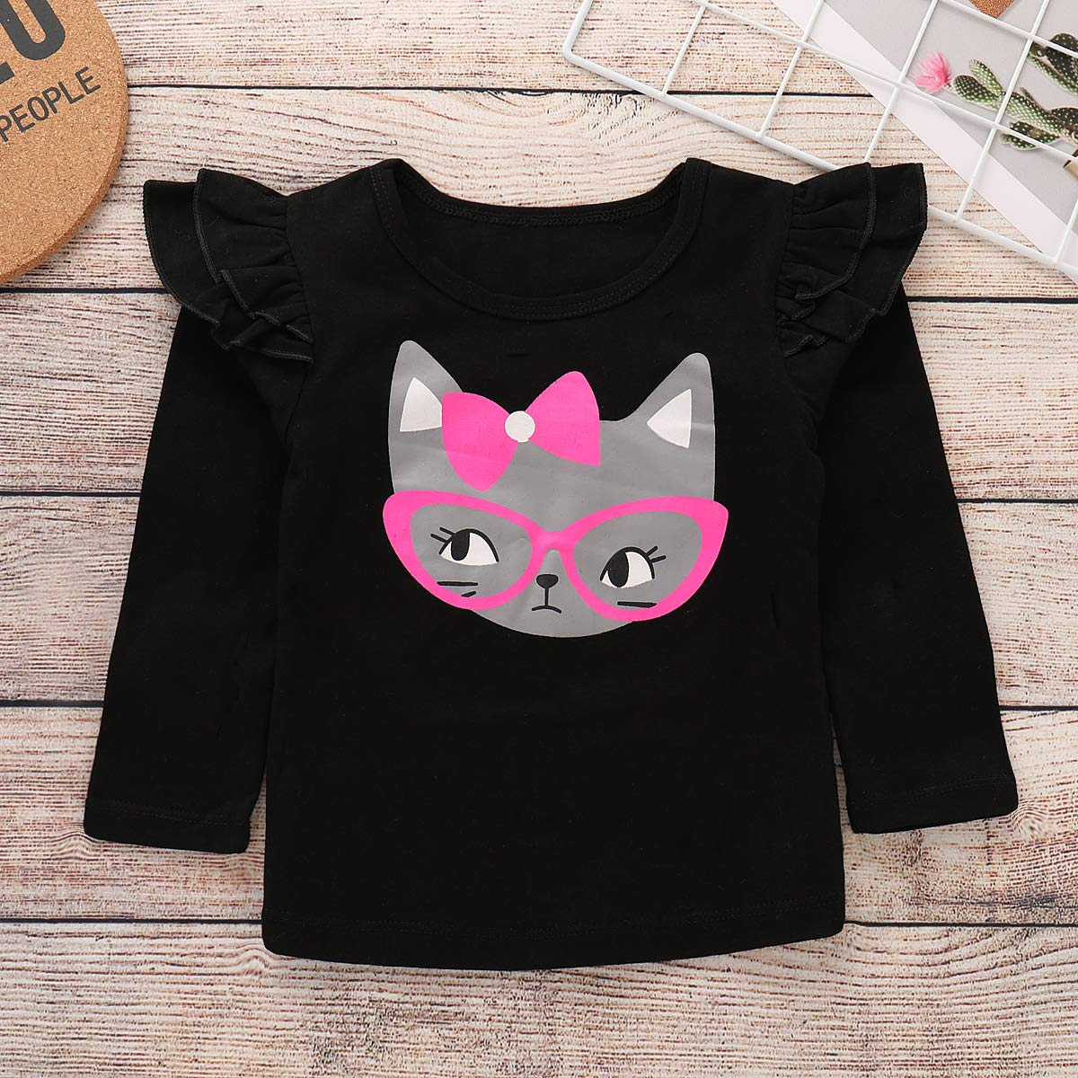 7129a0480d Amazon.com  Toddler Baby Girls Cut Cat Ruffle Long Sleeve Shirt Tops  Suspender Skirt Overalls Outfits  Clothing