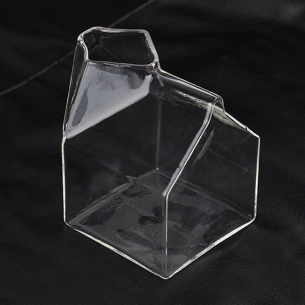 Youbedo 1 Half Pint Blown Glass Mini Milk Creamer Carton Container Glass Mini Milk Collect Bottle