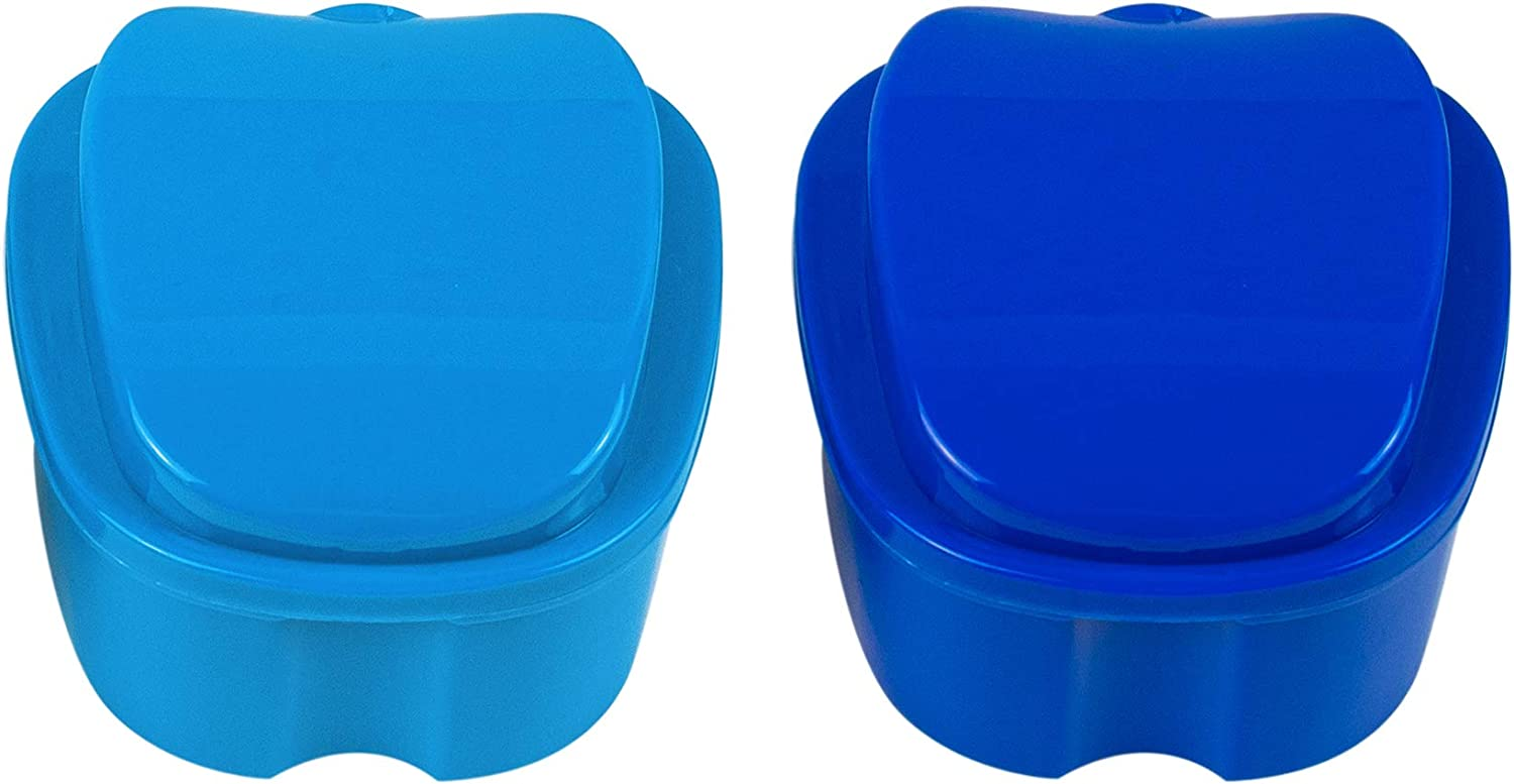 AUEAR, 2 Pack Denture Box with Basket Dark Blue and Light Blue Plastic Denture Box with Net Container for Home Travel: Health & Personal Care
