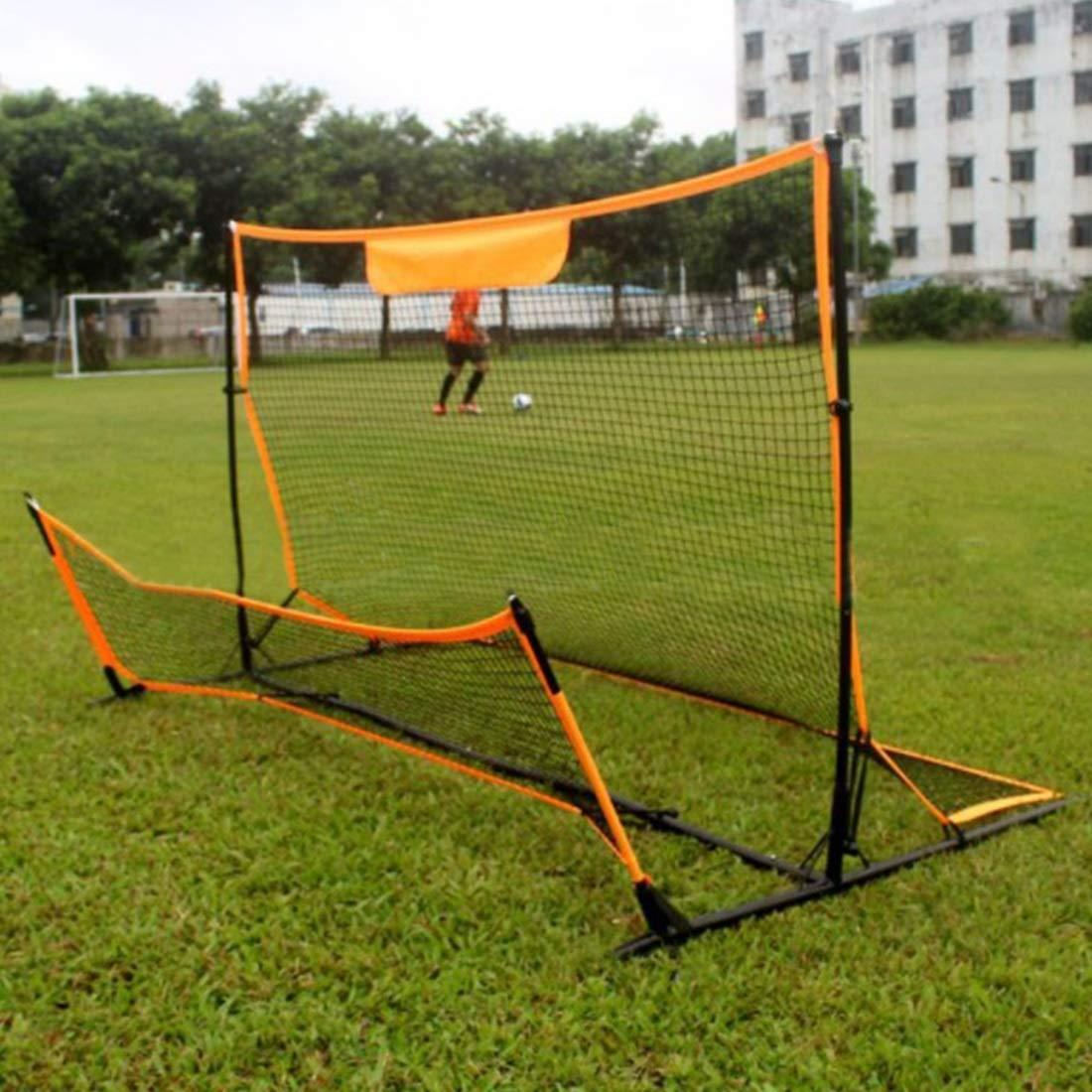 Jsqianchen Obiettivo Semplice d'assemblaggio Netto di Rimbalzo di addestramento di Calcio di Calcio Doppio Scopo di Calcio per l'esterno dell'interno Adulto dei Bambini (Colore   giallo)