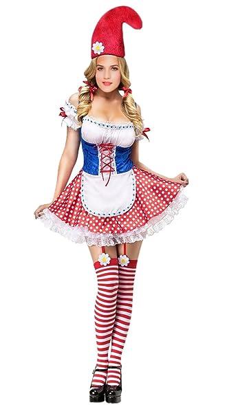 Amazon Com Garden Gnome Costume Adult Women Sexy Gnome Halloween