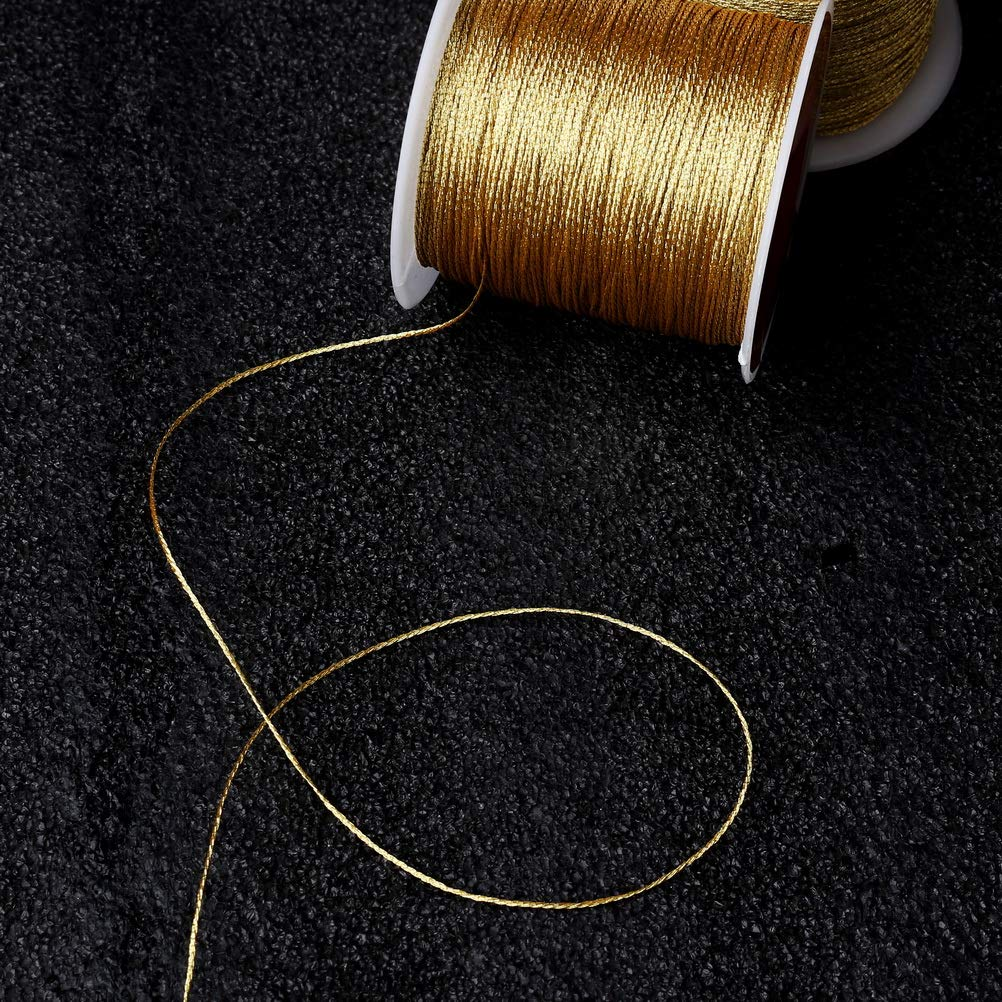 2 Spool Metallic Thread Gold Jewelry Thread Silver Craft String Tinsel String Craft Making Cord 0.5mm Pengxiaomei 218 Yards//656 Feet Metallic Cord