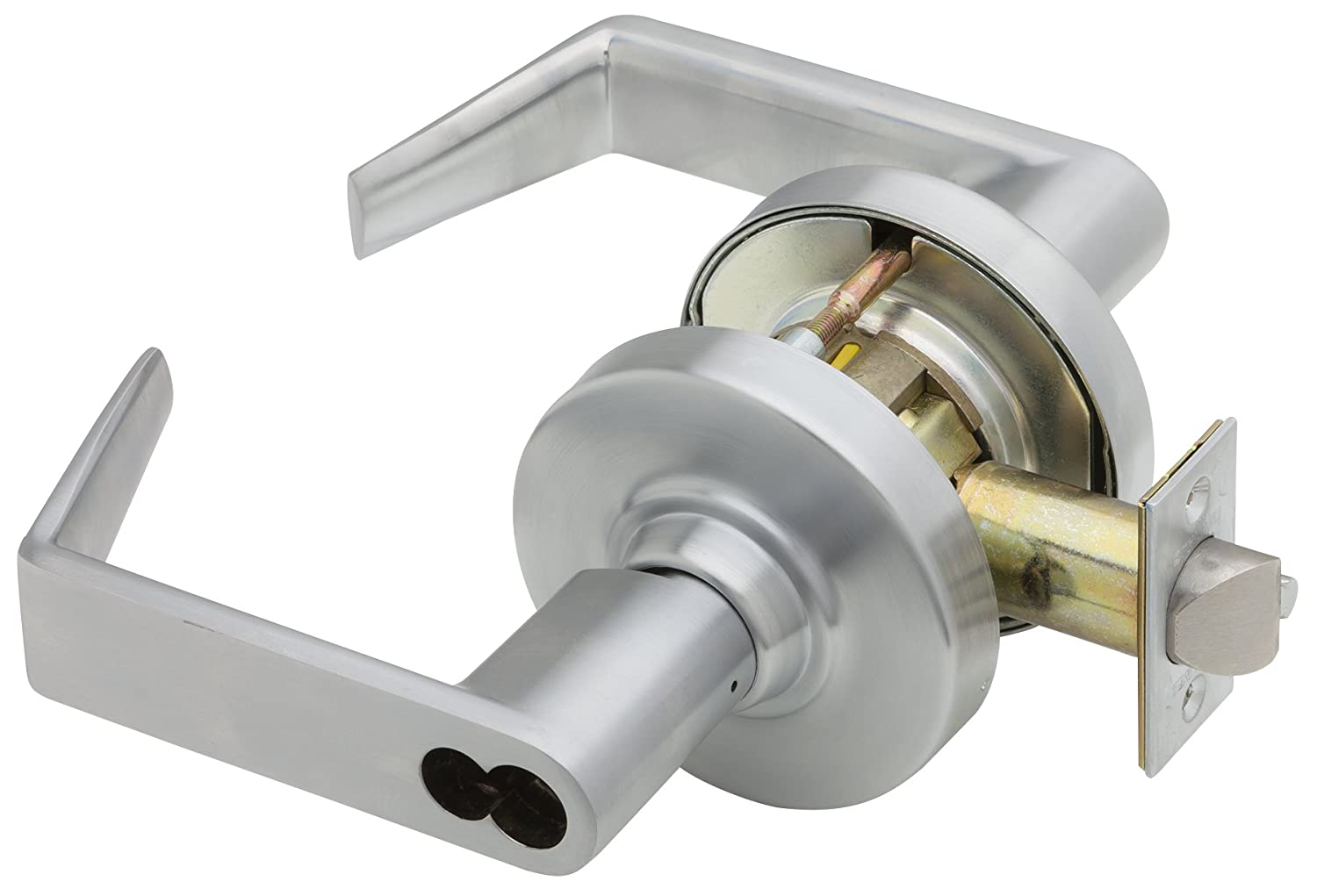 Classroom Security Function Satin Chrome Finish FSIC Series ND Grade 1 Cylindrical Lock Full Size Interchangeable Core Rhodes Design Schlage ND75JD RHO 626