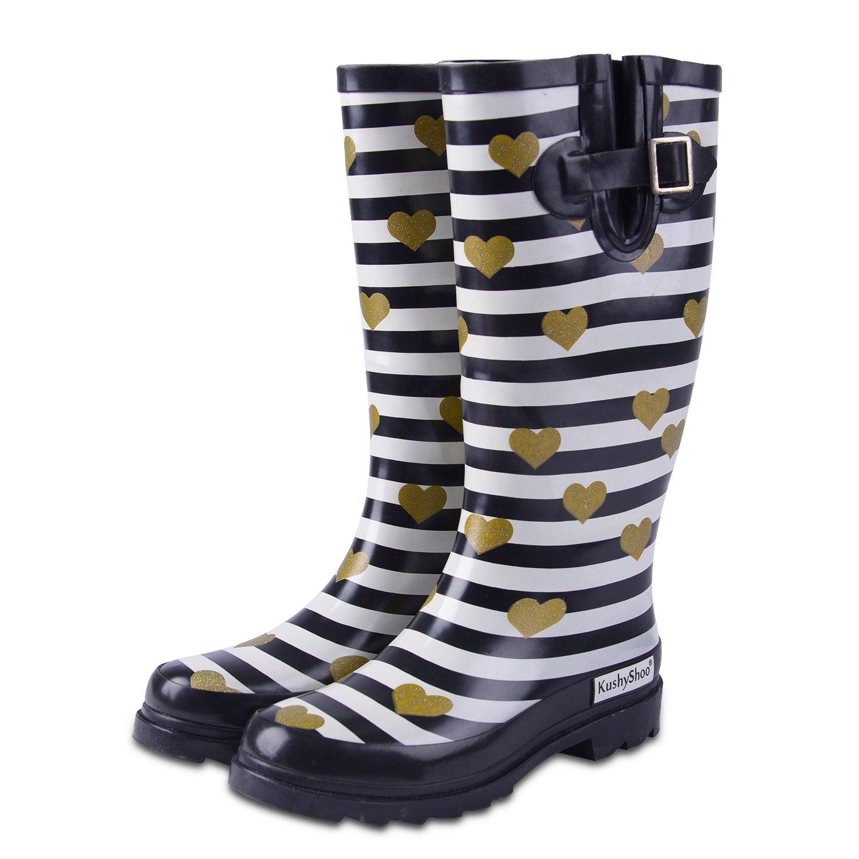 KushyShoo Women's Mid Calf Waterproof Rubber Rain Boots B01I4EXN8O 6 M US|Stripes and Heart