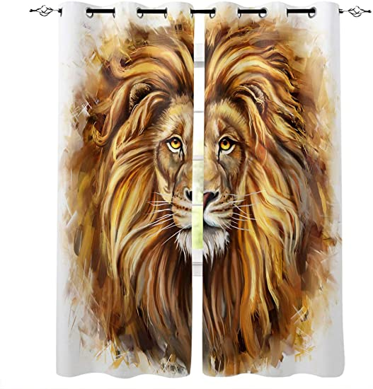 Vandarllin Decorative Curtains Sets of 2 Panels Art Africa Animal King Lion Doors Window Curtains and Drape