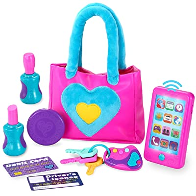 JOYIN Play-Act My First Purse Pretend Play Purse Toy Set for Little Girls, Interactive Purse Toy Set Including Pretend Play Smart Phone(Battery not Included), Keys, Pretend Makeup Accessories: Toys & Games