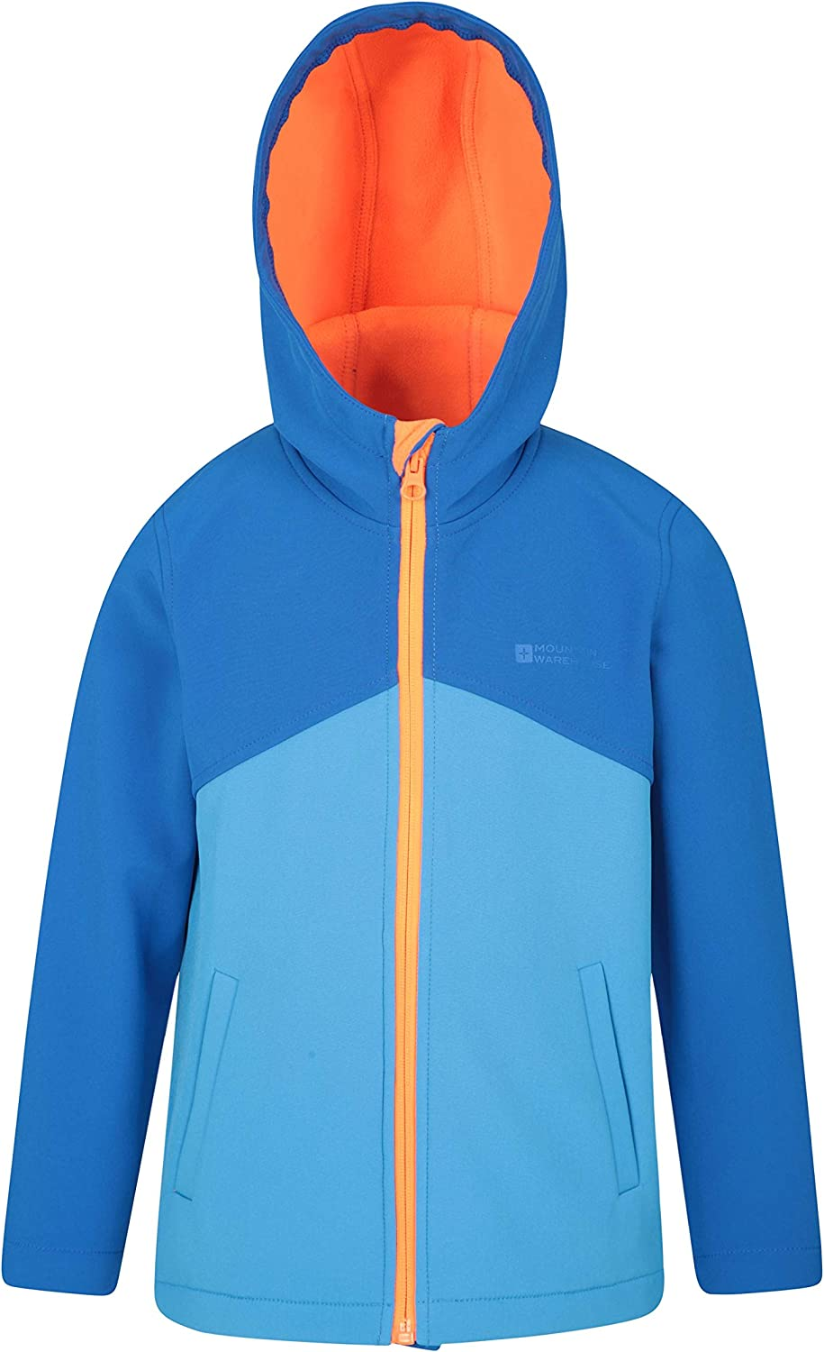 Mountain Warehouse Exodus Kids Softshell Lightweight Wind /& Water Resistant Childrens Shell Jacket Fleece Lined Hood for Travelling Orange 7-8 Years