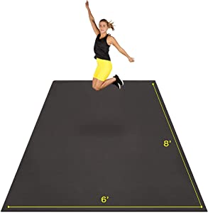 Large Exercise Mat 8' x 6' x 7mm | Ultra-Durable Non-Slip Rubber Workout Mat for Home Gym Flooring | Ideal for Cardio, Fitness, Plyo, MMA and Yoga | Jump Rope and Storage Bag Included