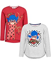 Miraculous Ladybug Pack of 2 Glitter Girls T-Shirt Long Sleeve Official Product