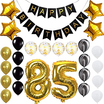 Happy 85th Birthday Banner Balloons Set For 85 Years Old Party Decoration Supplies Gold Black