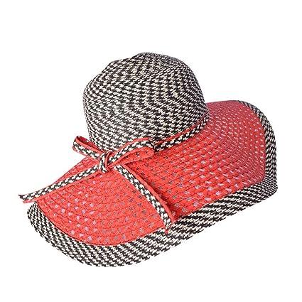 b583201d2 Amazon.com : Women's Braid Straw Wide Brim Fedora Hat UPF 50+ Summer ...