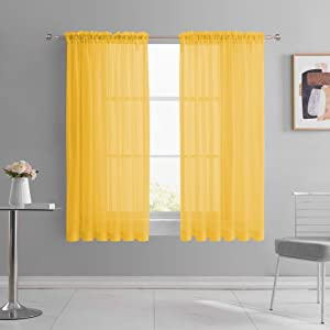 KEQIAOSUOCAI 2 Pack Girls Room Gold Yellow 63 Inch Sheer Curtains Panels Transparent Dark Yellow Sheer Rod Pocket Voile Drapes for Bedroom Living Room