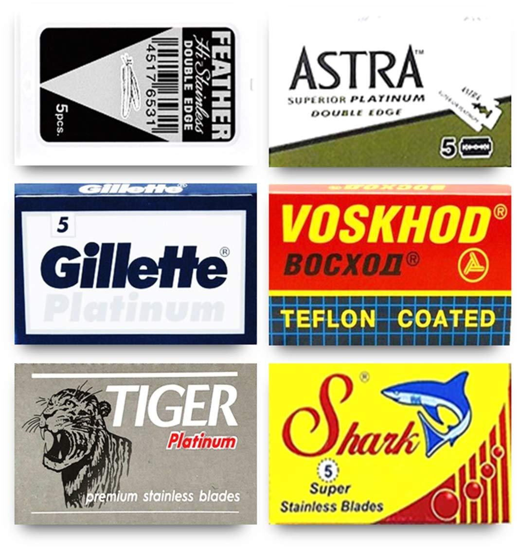 Astra-Feather-Shark-Tiger-Voskhod Double Edge Razor Blades Sampler, 30 Blades