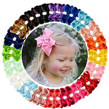 """20//40Pcs 3/"""" Baby Girls Grosgrain Ribbon Boutique Hair Bows For Teens Toddlers"""