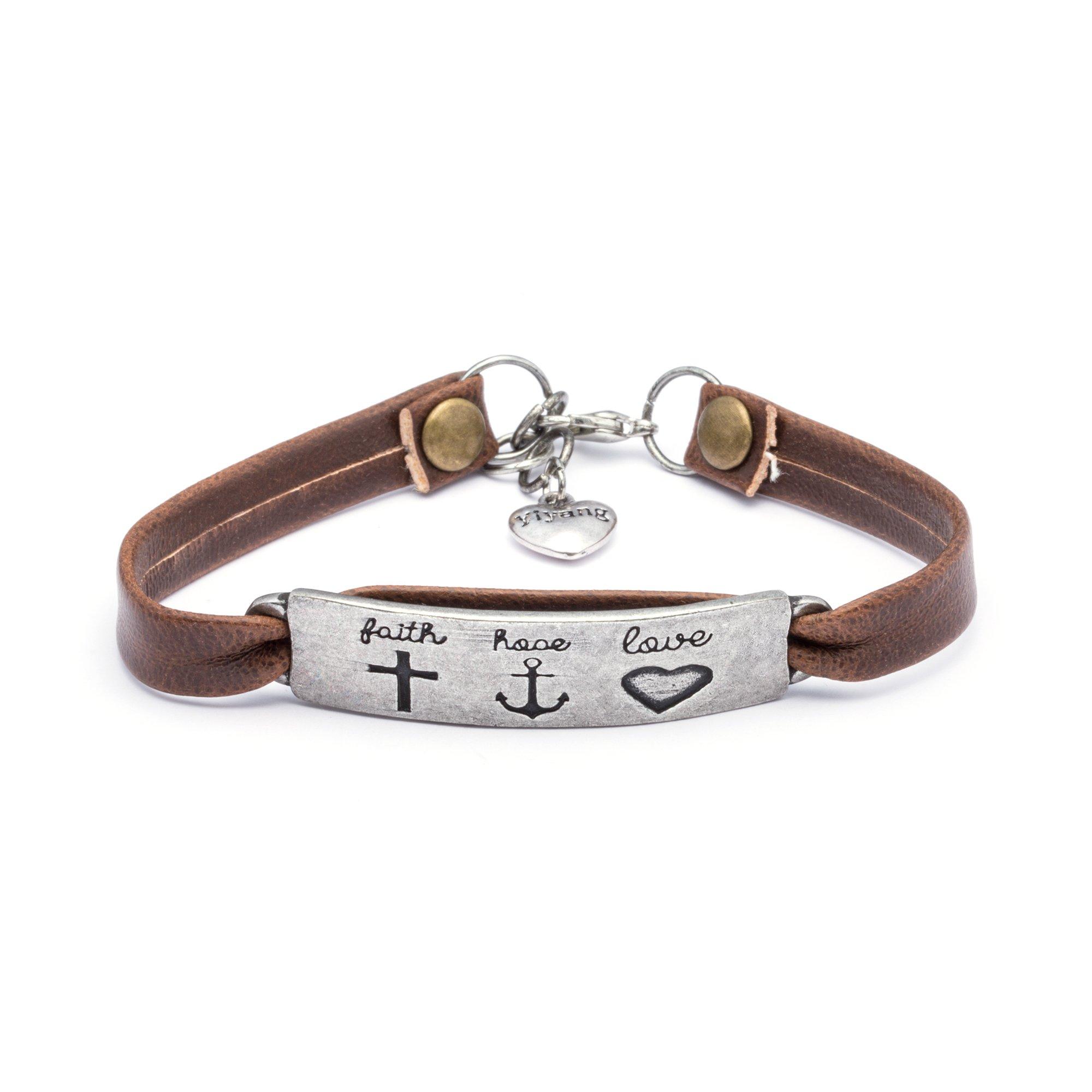 Yiyang Vintage Religion Bible Verse Leather Bangle Bracelet Easter Jewelry Gift Inspirational Bangle Faith Hope Love