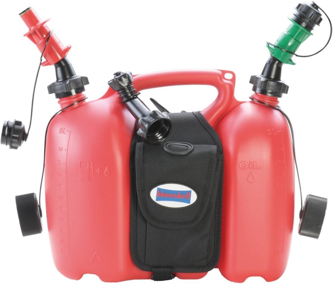 Hünersdorff Bidón doble PROFI 6+3 L, PEAD rojo, con alforjas + sistemas de llenado