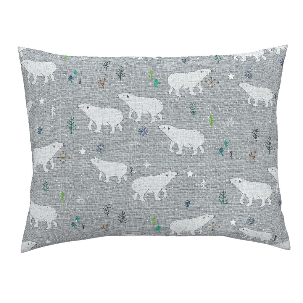 Roostery Polar Bear Bear Snow Arctic Wilderness Baby Boy Pine Tree Euro Knife Edge Pillow Sham Dance of The Polar Bear by Nouveau Bohemian 100% Cotton Sateen