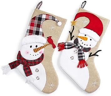 HEITMANN DECO Navidad - Set de Dos Calcetines Decorativos para muñeco de Nieve en Lona de