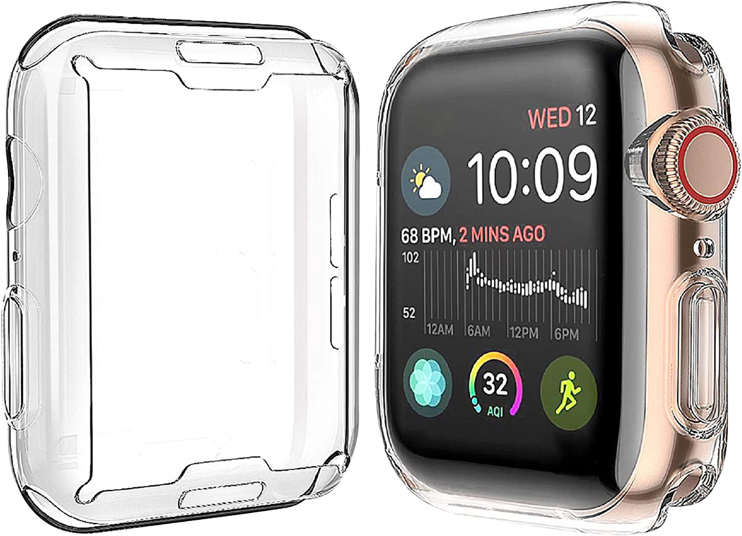 [2-Pack] Julk Case for Apple Watch Series 6 / SE/Series 5 / Series 4 Screen Protector 44mm, New iWatch Overall Protective Case TPU HD Clear Ultra-Thin Cover (44mm)