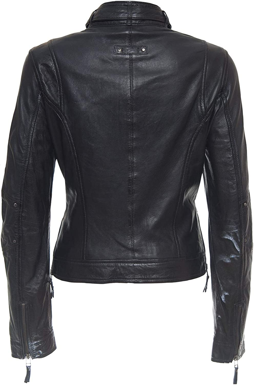 LEATHERAY Womens Fashion Real Leather Biker Jacket Black XS-5XL
