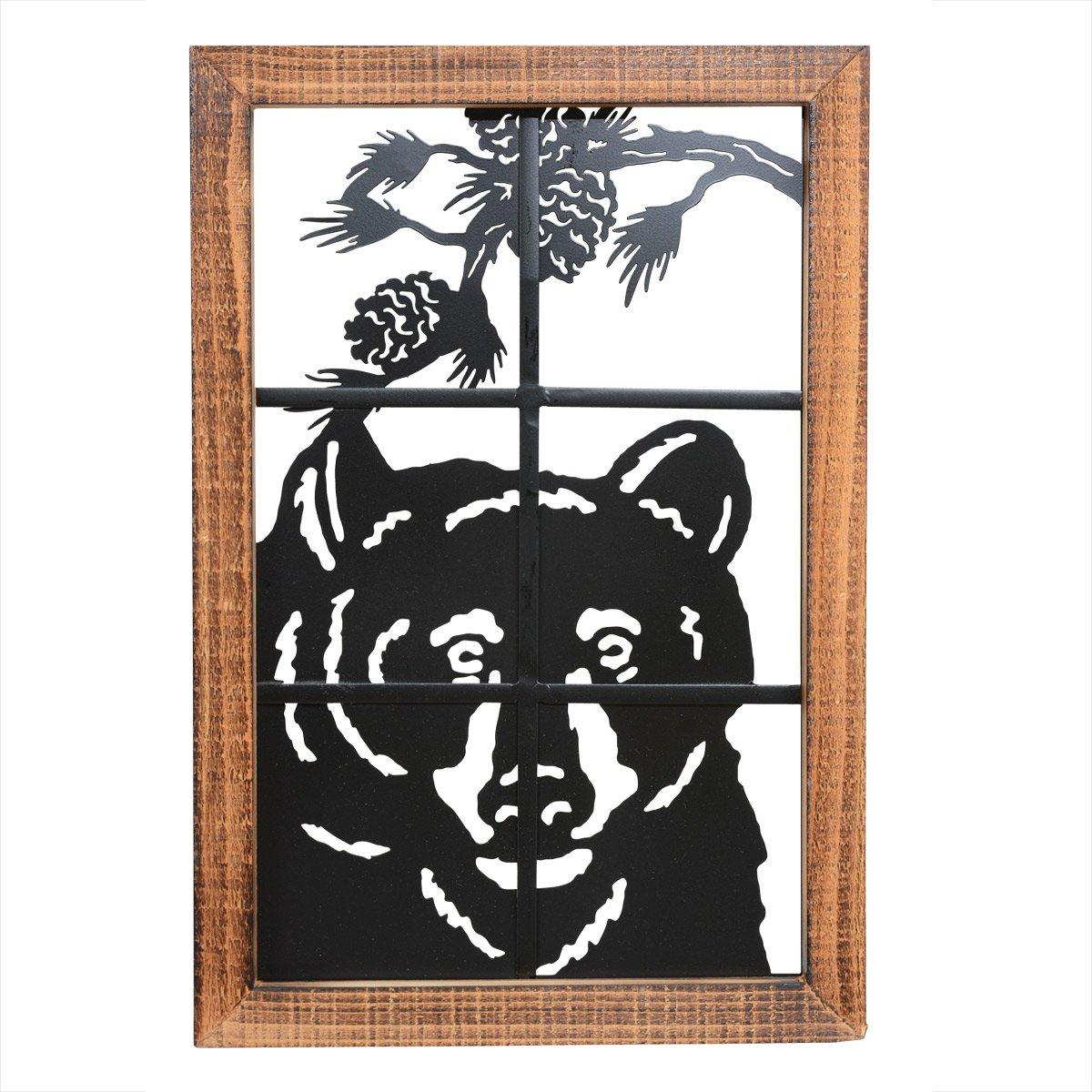 Bear in Window Metal/Wood Wall Art