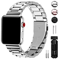 Fullmosa compatibile cinturino per Apple Watch 42mm e 38mm,3 Colori cinturino per iWatch in Acciaio Inossidabile,Cinturino per Apple Watch Series1, 2, 3,42mm Argento