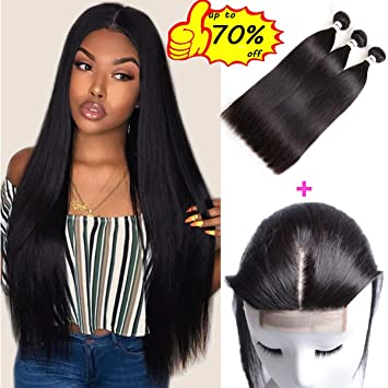 Mirthful Brazilian Straight Human Hair 3 Bundles With Closure 8a 100 Unprocessed Virgin Straight Hair