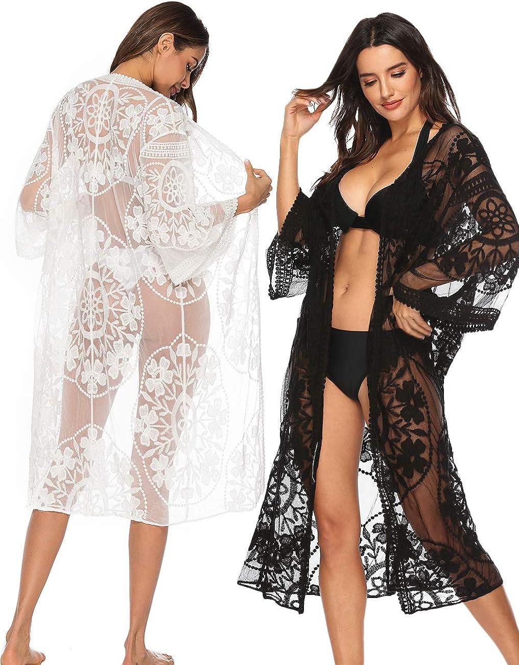Amazon Com Womens White Kimono Lace Cover Up Black Lace Cardigan Crochet Swim Cover Up Clothing