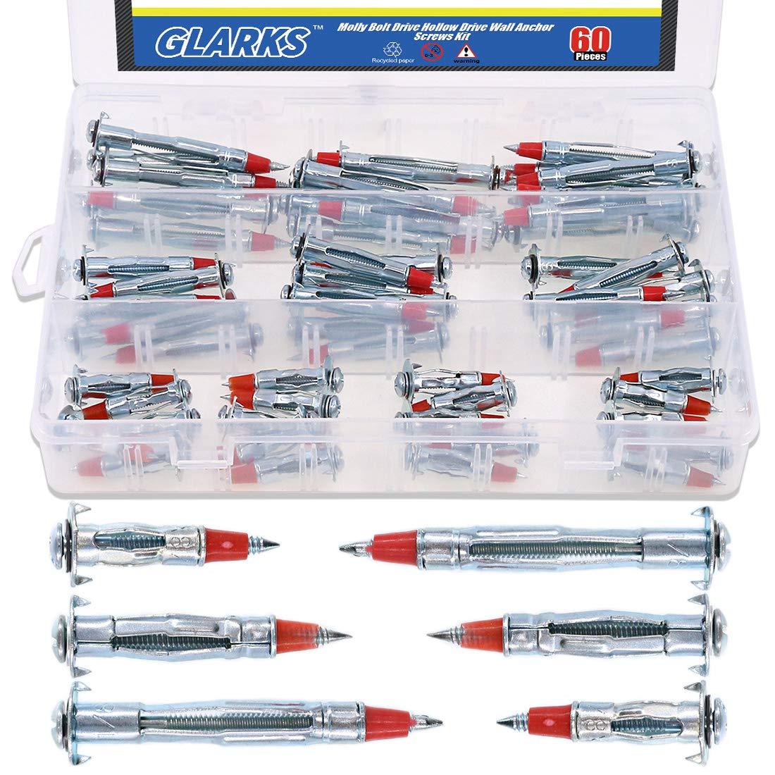Glarks 60Pcs Heavy Duty 1/8 inch 35/46/59mm Zinc Plated Steel Molly Bolt Drive Hollow Drive Wall Anchor Screws Assortment Kit