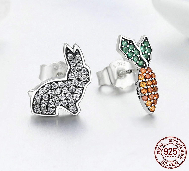 Sterling Silver Jewelry By CS-DB Cute Rabbit /& Carrot Orange Green Clear CZ Animal Stud Earrings