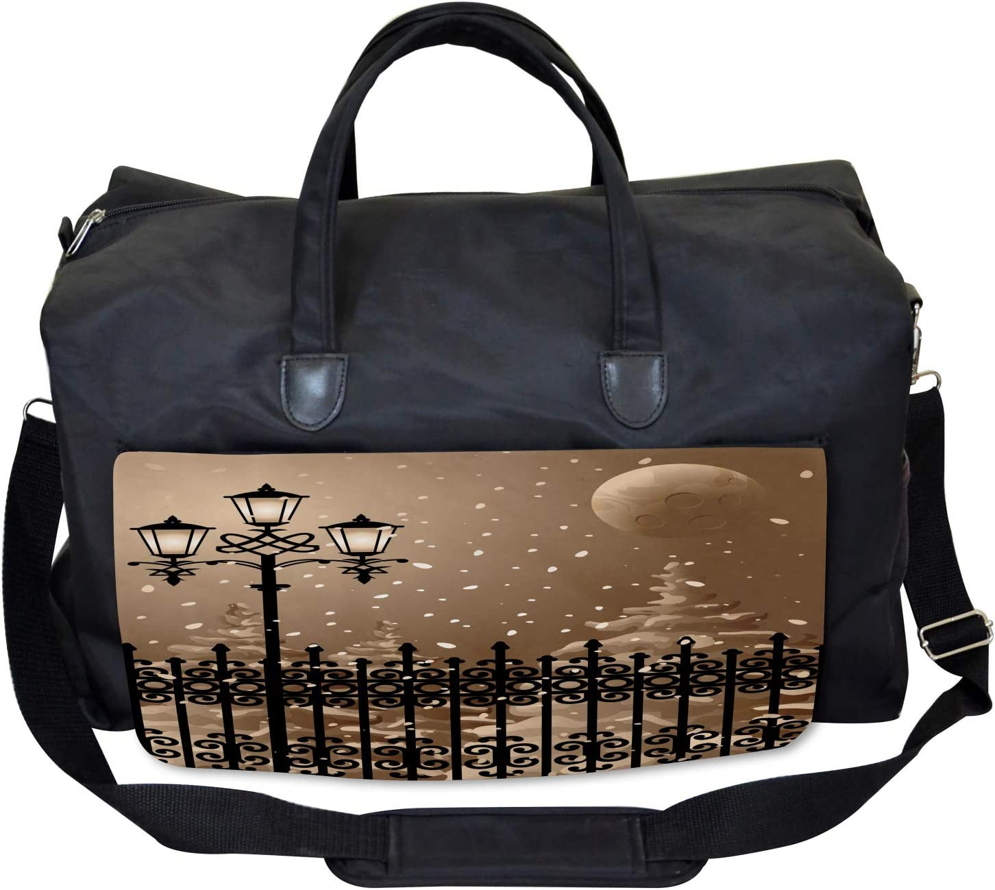 Snowy Moon Evening Large Weekender Carry-on Ambesonne Winter Gym Bag