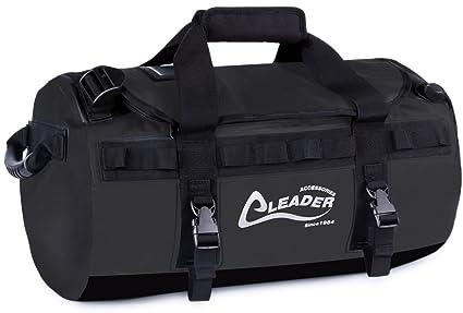 28f54769ad7b Leader Accessories Deluxe Water Resistant PVC Tarpaulin Duffel Bag Backpack  (Black