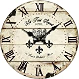 """Grazing 10"""" Roman Numeral Design,Vintage Rustic Shabby Chic Style Wooden Round Home Decoration Wall Clock (Vintage)"""