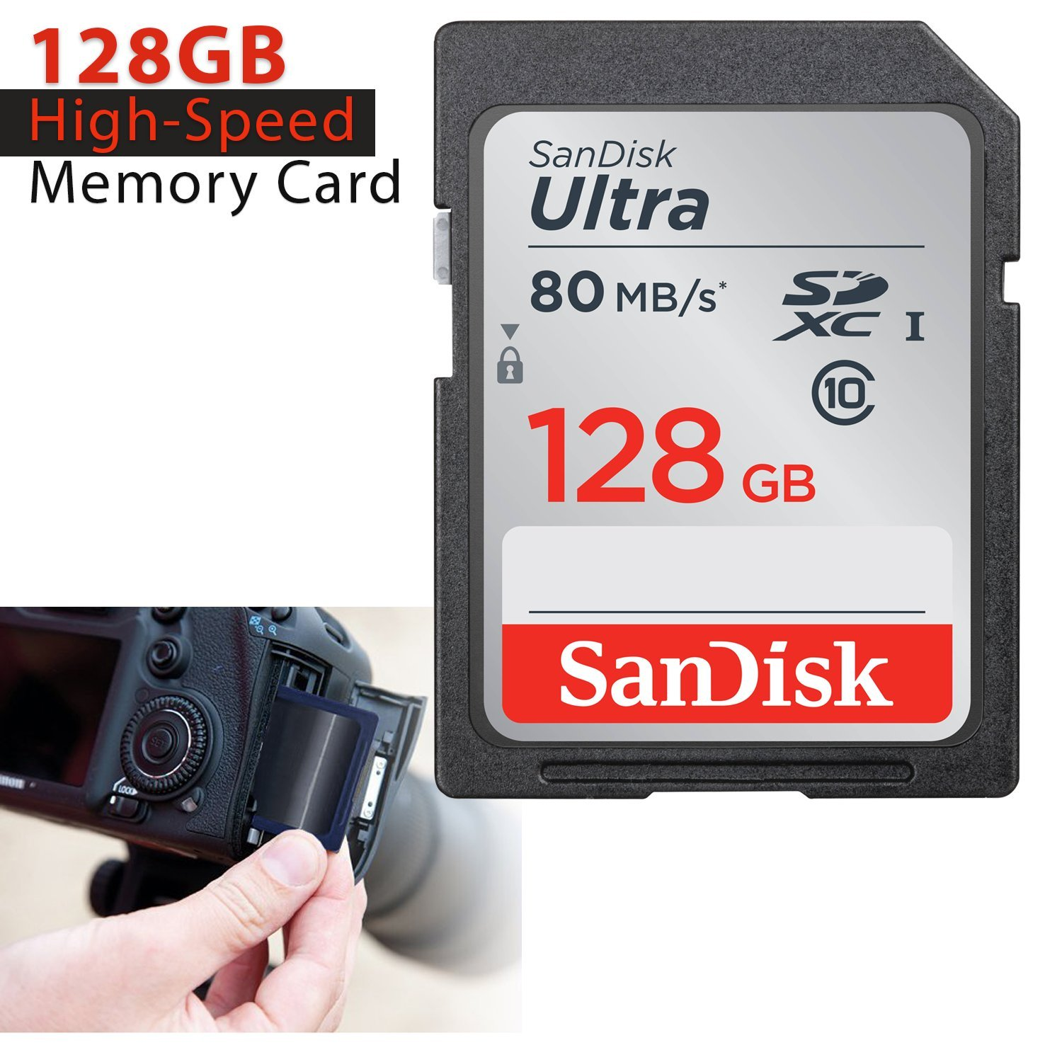 SanDisk 128GB Ultra Class 10 SDXC UHS-I Memory Card + Card Reader for Canon DSLR Cameras Including Canon EOS Rebel T7i T7 T6i T6S T6 T5i T5 T3i SL2 ...