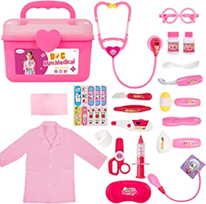 Durable Doctor Kit for Kids, 23 Pieces Pretend Play Educational Doctor Toys, Dentist Medical Kit with Stethoscope Doctor Role Play Costume, Doctor Set Toys for Toddler Girls 3 4 5 6 7 8 Years Old