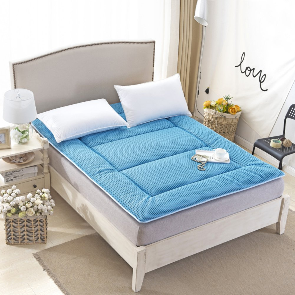 bluee 120x190cm(47x75inch) Breathable Cotton Mattress Topper,Hypoallergenic Antibacterial Fluffy Comfort 2-3 cm Thick Sleeping pad Quilted Home Summer-Light tan 135x200cm(53x79inch)
