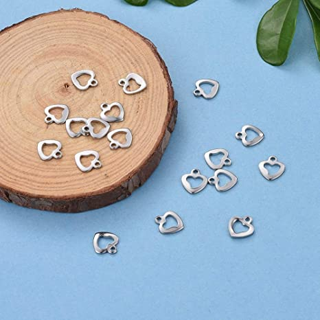 20pcs Silver Stainless Steel Heart Charms for DIY Jewelry Findings