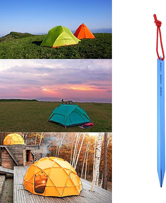 Golden 20pcs Camping Tent Pegs Nails Sand Ground Stakes Awning Accessories