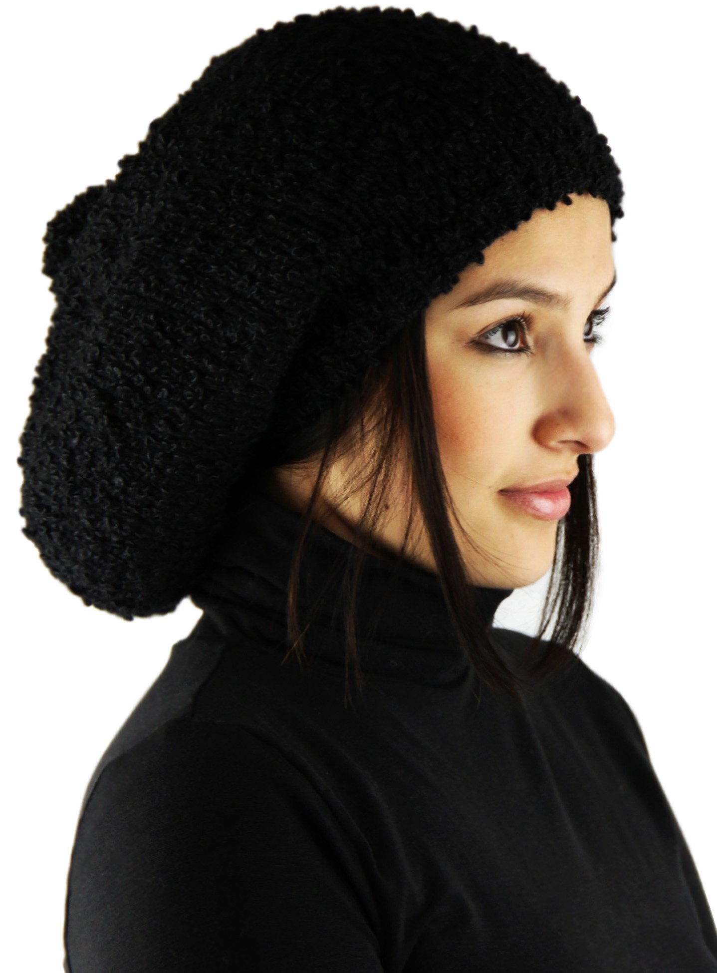Knitted 100% by Hand ALPACA Rasta Hat - Black Luxury II (MEDIUM)