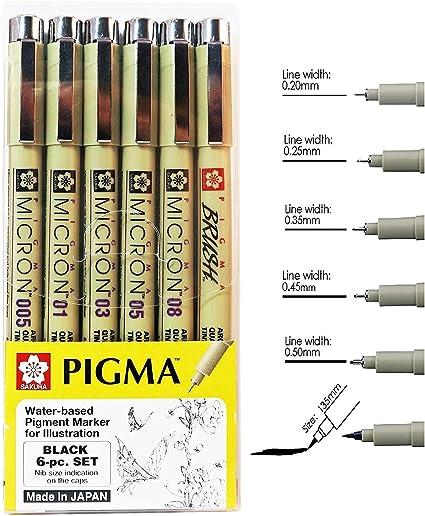 Set di 8 pigmenti a base dacqua per illustrazione Sakura Pigma Micron 005