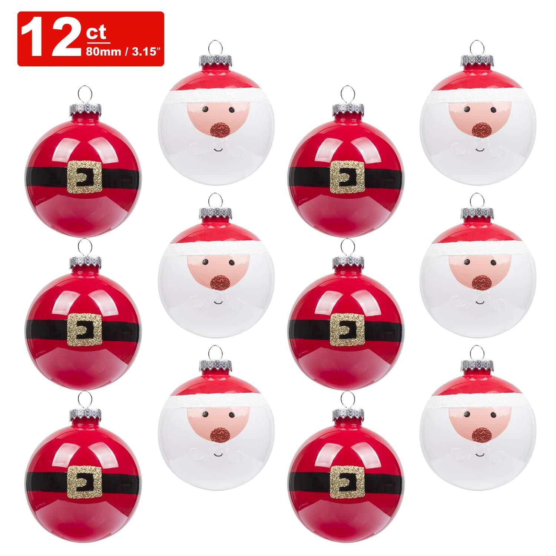 KI Store Christmas Balls Ornament 12ct Shatterproof 3.15-Inch Tree Ball Cute Santa Hand Painting Decorations for Xmas Trees, Parties, and Holiday